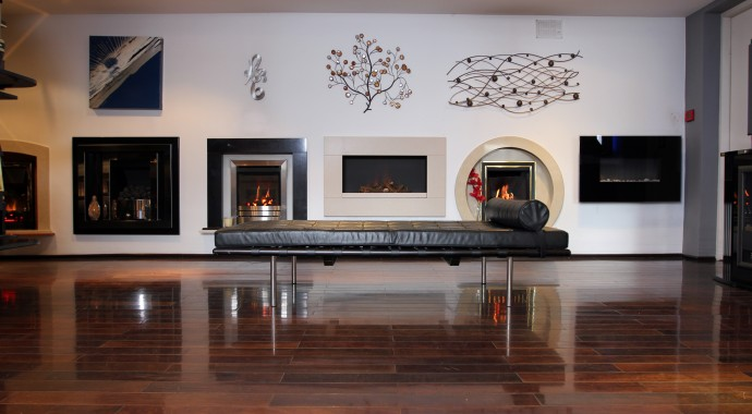 Hole in wall gas fires in our Bradford showroom