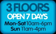 3 Floors, open 7 days